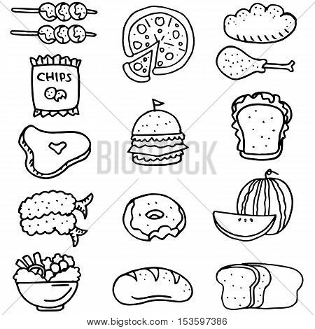 Doodle of food set stock collection illustration