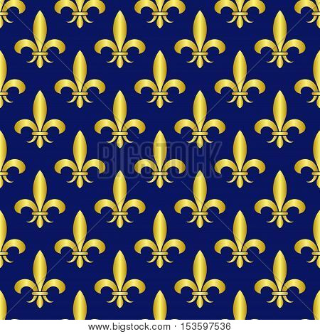Golden fleur de lis royal lily vector seamless pattern. Vintage royal ornament illustration