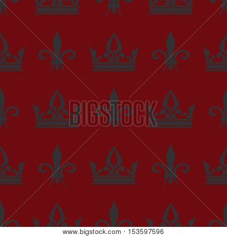 Red vector crowns and fleur de lis seamless pattern. Design vintage background illustration