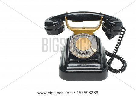 Old Vintage Black Phone With Disc Dials With Cliping Path.