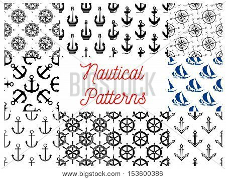 Nautical and marine concept patterns set. Vector pattern of anchor on chain, vessel ship steering wheel, compass arrows, yacht silhouette
