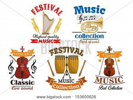 Emblems for classic, live music festival, concert. Vector elements of musical instruments harp and trumpet, contrabass, drums, violin