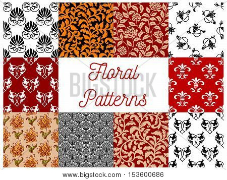 Floral ornate seamless decoration patterns. Vector seamless tile pattern of stylized flourish and flowery graphic ornaments for tapestry, textile, interior design elements