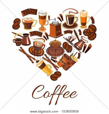 Coffee heart label. Vector elements of coffee latte, cappuccino, mocha, coffee mill, sweets and desserts cakes, biscuits. Decoration design template for cafe, cafeteria menu card