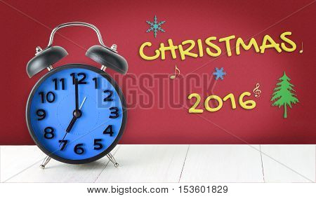 Christmas with Clock count down poster banner for website. Count down to Christmas 2016 Happy new your with red background. Morning alarm clock with Christmas decoration background.