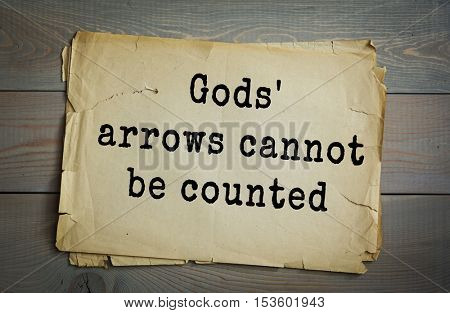 Traditional riddle. Gods' arrows cannot be counted( Rain )