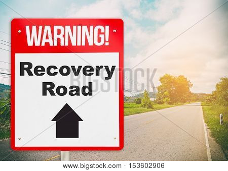 Recovery road with the light at the end of the road. Health and Finance recovery road sign concept for motivation. Decision making to drive on to the successful road of recover for business concept.