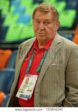 RIO DE JANEIRO, BRAZIL - AUGUST 10, 2016: Jerry Colangelo director of USA Basketball during group A basketball match between Team USA and Australia of the Rio 2016 Olympic Games at Carioca Arena 1