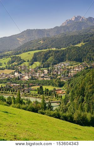 View on Werfen market town situated in the valley of the Salzach River and Berchtesgaden Alps Austria