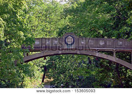 Historical very old Devil's Bridge in Tartu Estonia.