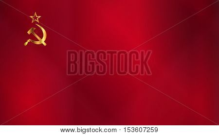 Hammer and Sickle in gold set on a Russian Flag