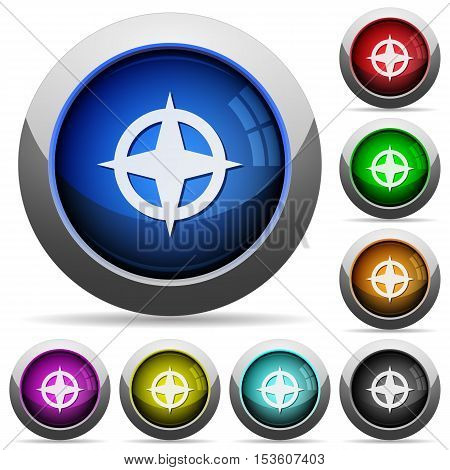 Map directions icons in round glossy buttons with steel frames