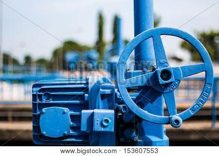 Blue valve at water treatment plant, Electric control valve