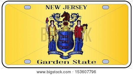 New Jersey state license plate in the colors of the state flag with the flag icons over a white background