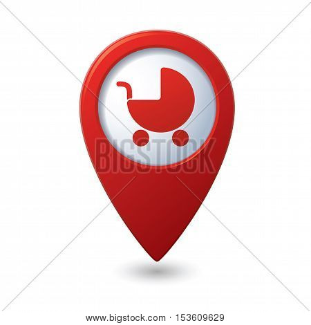 Map pointer with baby carriage icon. Vector illustration