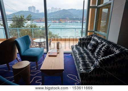 HONG KONG - 27 JANUARY, 2016: inside Bay Bridge Hong Kong by Hotel G. The hotel located on 123 Castle Peak Road, Ting Kau, Tsuen Wan, Hong Kong.