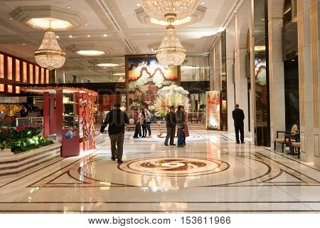 HONG KONG - 26 JANUARY, 2016: Kowloon Shangri-La Hotel lobby. Kowloon Shangri-La is a five-star hotel of the Hong Kong-based Shangri-La Hotels and Resorts group.