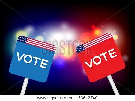 The concept of voting signboard with the word Vote on paper with flag USA Blue and Red on abstract background
