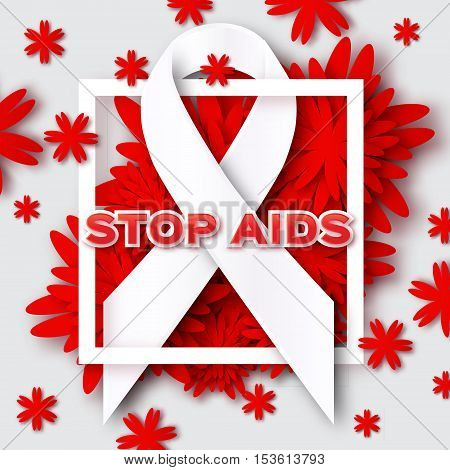 Aids Awareness. Ribbon. World Stop Aids Day on grey background with frame and red origami flower. Vector design illustration.
