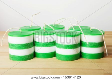 White And Green Striped Cylindrical Handmade Candles