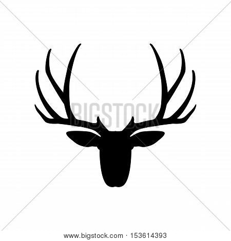 deer head vector illustration   black silhouette side
