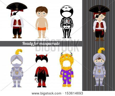 Fancy dresses collection for kids, Cute little boy body template and costumes of pirate, skeleton, knight, monster and devil. Make your fancy character.