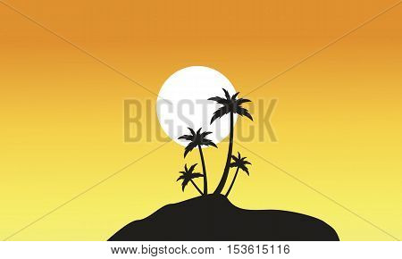 Beautiful scnery palm trees of silhouettes vector illustration