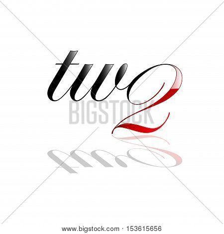 Vector logo two number and letter, isolated illustration on white