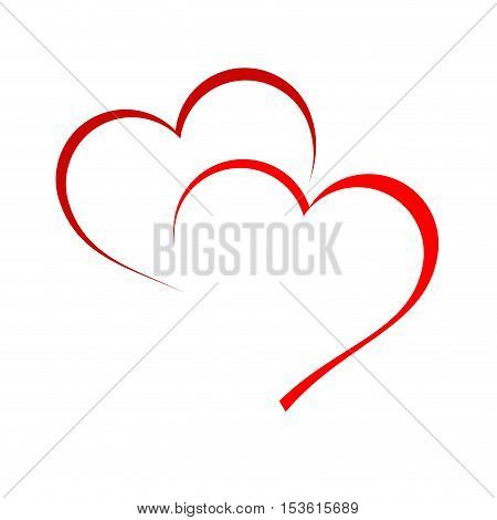 Vector logo two hearts in abstract shape