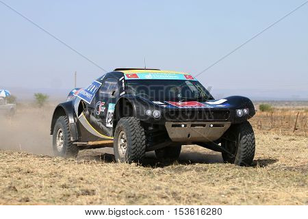 Forty Five Degree Close-up View Of Speeding Black Cr-2 Rally Car