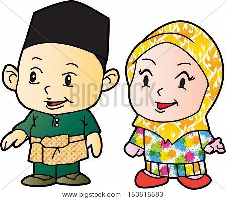 Illustration of Patani kids in Patani 2 (Malay people in southern of Thailand)