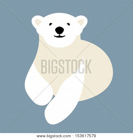 Polar bear young style vector illustration Flat