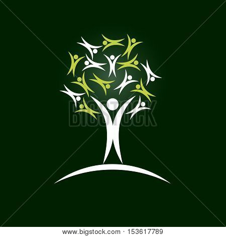 Vector sign tree solidarity green background with people