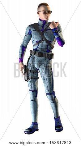 3d render of a space guard in action isolated on white background