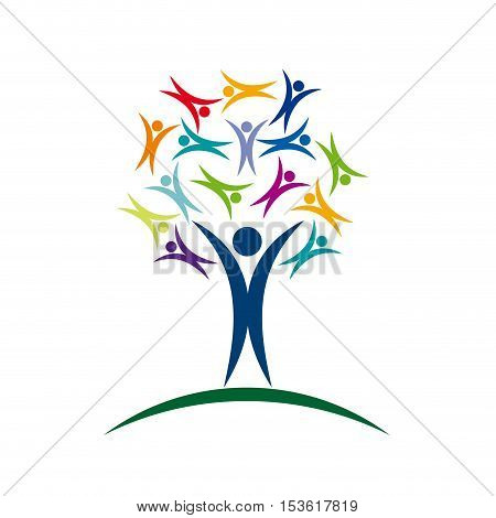 Vector sign tree solidarity with people, isolated illustration