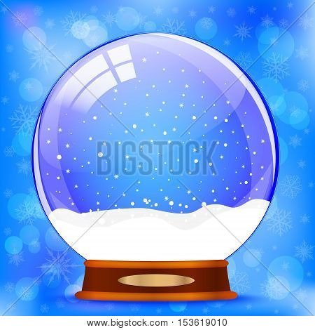 Vector background with snow globe on blue