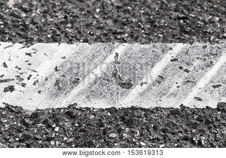 White Dividing Line With Tire Tracks