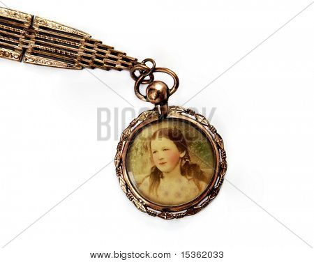 Antique locket with portrait of little girl poster