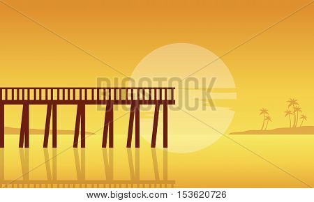 Silhouette of seaside with pier landscape vector flat