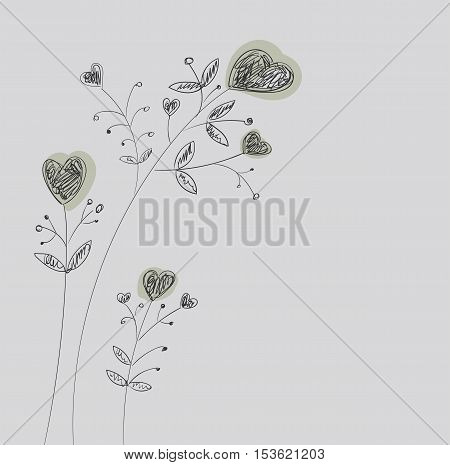 Heart-flowers on stalks. The dashed hand-drawing. Black