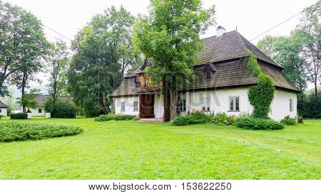 Lopuszna Poland - August 11 2016; Traditional white rustic house - Tetmajer family mansion - in Lopuszna Poland
