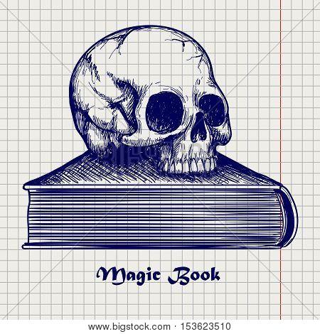 Ball pen sketch of human skull on book on notebook background. Vector illustration