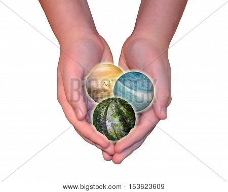 Child hands holding sky, ocean and forest spheres isolated on white background. Conservation, protecting the environment and Earth's future is in our hands concepts