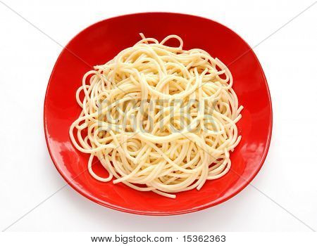 Spaghetti on red plate