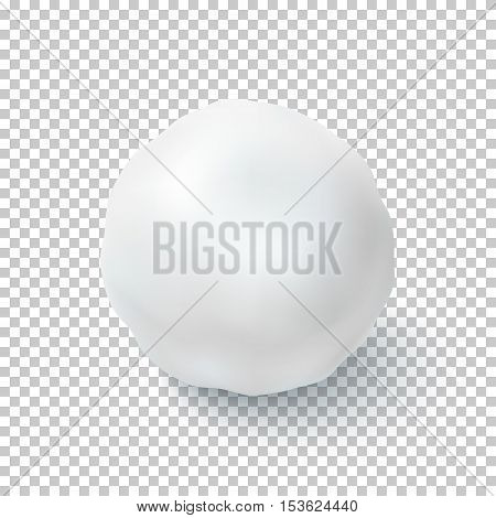 Realistic snow ball isolated on transparent background. Vector illustration.