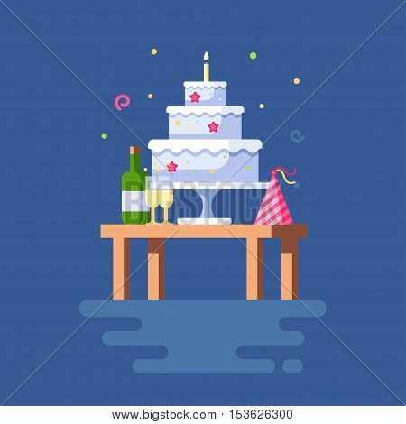 Vector illustration of festive table. Clipart of torte with a candle, funny striped cap with ribbons, a bottle of champagne with two wine glasses. Trend modern flat pseudo volume style. Celebration