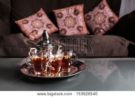 close up of an islamic tea cup - blur treatment