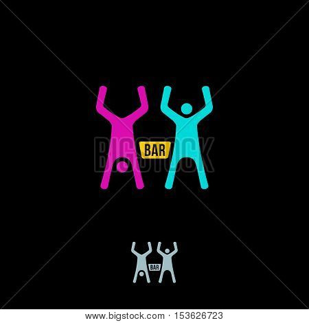Silhouettes Of Two Drunk, Happy People And Between Bottle. Vector Logo Concept. Bar Vector Icon. Bar