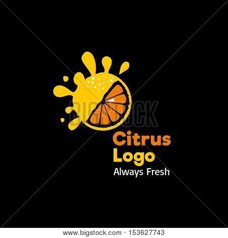 Fresh Citrus Logo. Vector Sign On Black Background.
