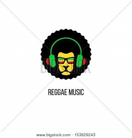 Lion Head In Sunglasses With Rastafari Flag And Headphones. Vector Reggae Music Logo Template Isolat
